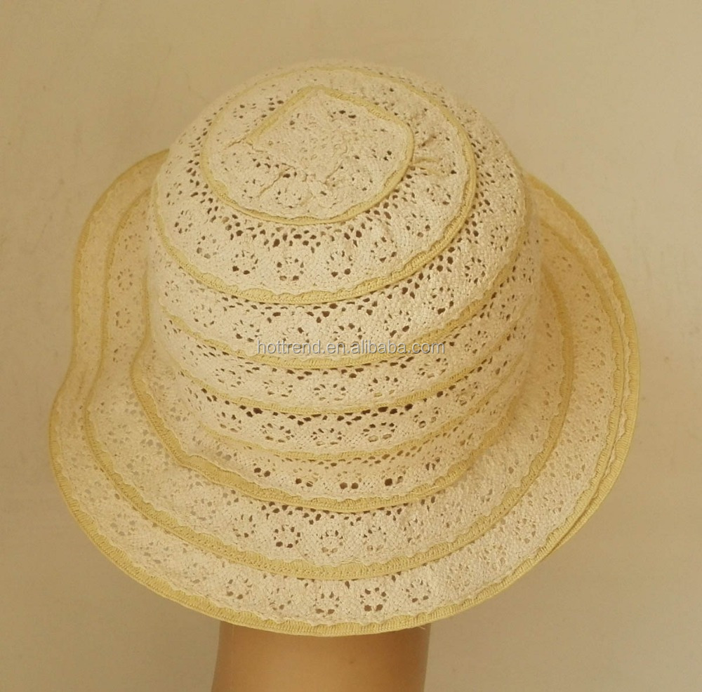Girls cotton up birm lace sun hat