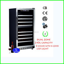 Digital Temperature Contrals Wine Cooler with LED Display Compressor Wine Refigerator USF-72D Dual Zone Wine Barrels