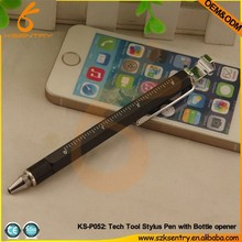 special item for gift 8 in 1 tool pen with bottle opener+ruler+stand+ball pen+screw driver