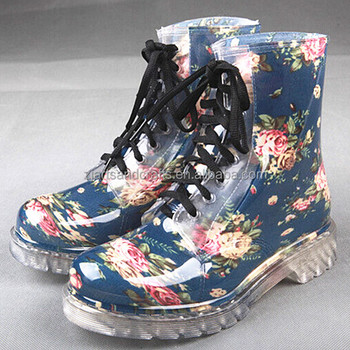 Fashion rose printing ankle lace-up martin pvc rain boot for women