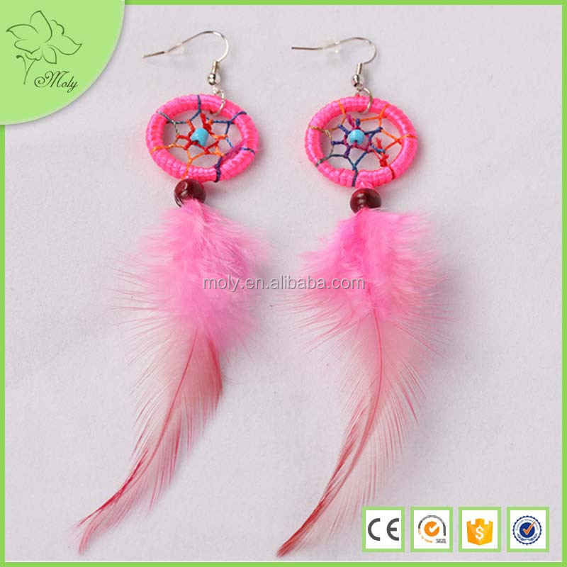 New arrival China manufacture alloy jewelry pink feather earrings with bead