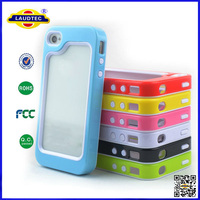 Hot Selling TPU+PC Phone Protective Hard Cover Case for iPhone 4 ,two in one case cover for iphone4 Laudtec