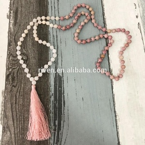 ST0454 Love Rhodochrosite Rose Quartz & Snow Quartz Meditation Beads Mala Necklace With Tassel 108 Bead Hand Knotted Necklace