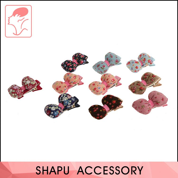 New Selling Custom Design Baby Lovely Fabric Bow Kids Hair Clip