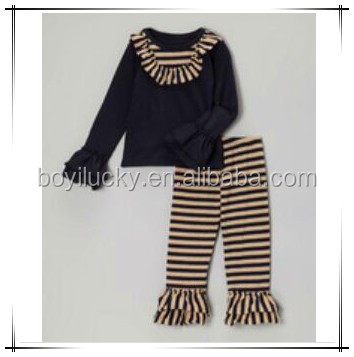 Wholesale Baby Long Sleeve Clothing Set Ruffled Black Undershirt Striped Pants 2 Pieces Baby Clothing Set Fashion Girl Outfit