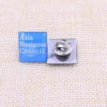 Custom square metal company logo pin badge/epoxy badges with safety clasp