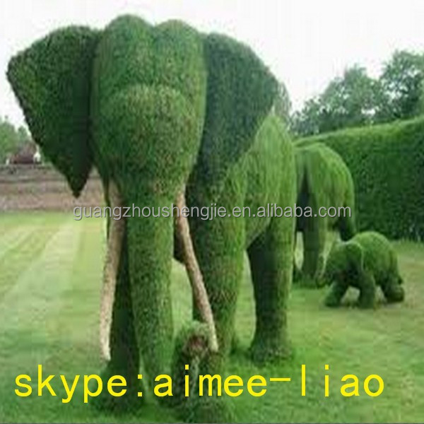 Q011905 size customized plastic grass elephant topiary manufacturer artificial grass animal topiary