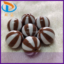 Fashion 20MM Brown Loose Chunky Jewelry Watermelon Acrylic Striped Beads