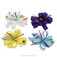 Fashion lovely flower grosgrain ribbon baby Hair Bows with clips girls hair accessories