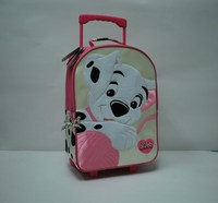 600D backpack with dog printing on front panel and trolley on back