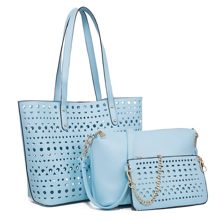 3pc per set laser cut wholesale handbag china, woman fashion handbag