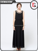 2017 wholesale summer party dress black lace chiffon sleeveless long maxi dress woman