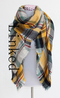 Women Winter Warm Soft Plaid Knit Artificial Wool Scarf Long Scarf Wrap Shawl