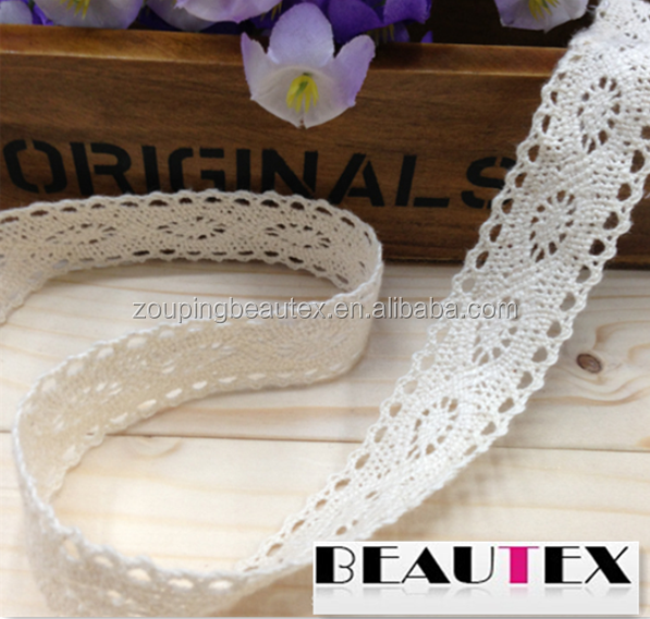Hot sale 100 cotton ivory lace ribbon fabric and lace trim wholesale for decoration
