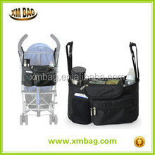 Functional Stroller Organizer Diaper Bag Back Seat Car Organizers with Bottle Holders for Traveling or Outings