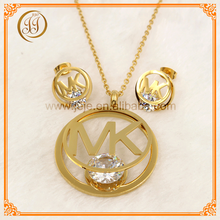 Bulk Cheap Affordable Letters Zircon Italian Gold Jewelry Sets For Girls Gift