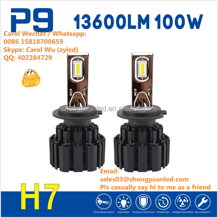 New Technology TOP 1 Bright 100W 13600lm P9 zhengyuan h7 h4 led headlight pk xenon hid kit 9005 motorcycle led projector lens