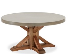 outdoor concrete top wood round dining coffee table