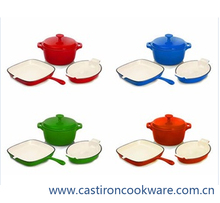 red ceramic enamel surface cast iron cookware sets decorative kitchen