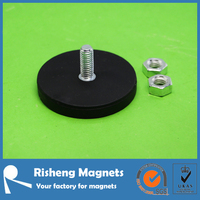 Sign neodymium magnet with threaded shaft Ring magnet with rubber coating