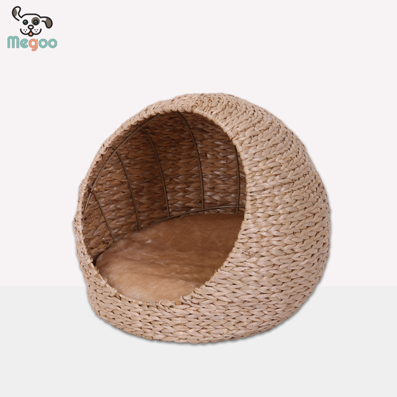 Unique Design Round Straw Weaving Cat Bed With Plush Bed Cushion