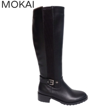 HS0001 Black latest design lady flat shoes genuine leather shoes women knee high boots