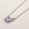 Silver plated swan pendant purple crystal chains necklace for women