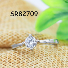 925 silver ring with single zircon stone diamond simple design