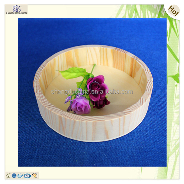 professional factory round delicate original color pine wooden tray