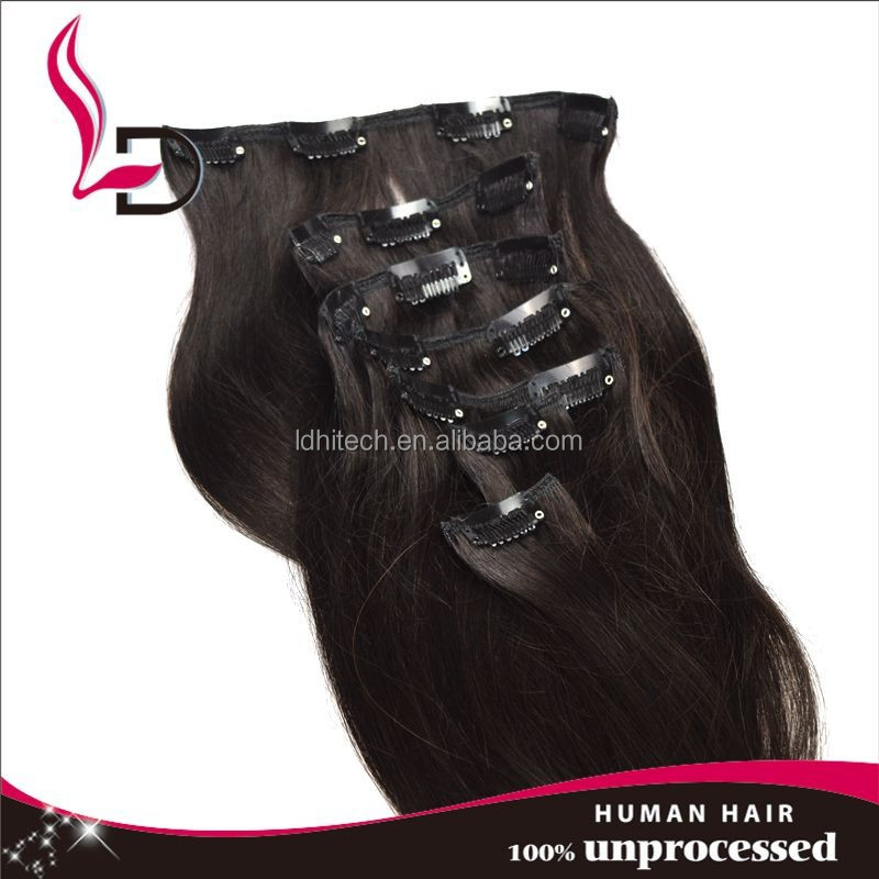QingdaoLIDU clip In Hair Extension 24 inch full head clip in unprocessed european russian remy human clip in virgin free sample