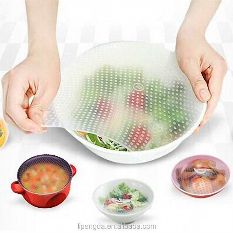 Eco-friendly Silicone Food Wrap Cover Stretch Film To Keep Foods Fresh Set Of 4pcs