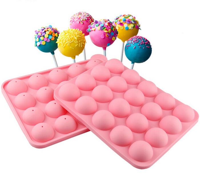 20 Round Shapes Silicone Lollipop Mold Tray Pop Cake Stick Mould for Party Holidays Cupcake Baking