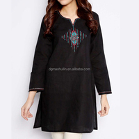 ladies embroidery fancy kurta fashion india clothing black rayon kurti