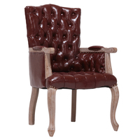 Room Wooden Leather Wood Design Armrest Vintage French Style Solid Home Good Table Set Classic Banquet Dining Chair