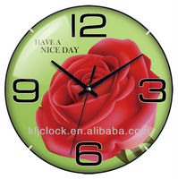 Gift Wall Clock WH-6768 Beautiful Rose Flower Have A Nice Day Design