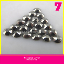 Wholesale Round Metallic Silver Loose Rhinestones Ss10 Hotfix DMC Crystal Stones For Clothing
