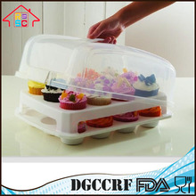 NBRSC Plastic 2 Tier Hold 24 Mini Cupcake Carrier Food Storage Container Wholesale