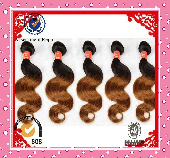 Nice color ombre color body wave highlighted indian remi human hair machine weft