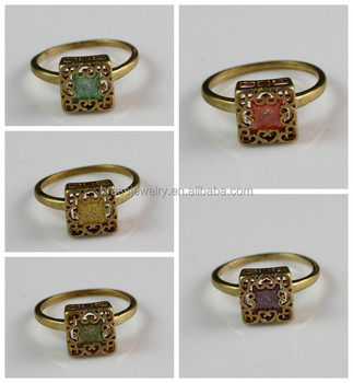 raw brass material square shaped gemstone turkish wedding jewelry ring - Turkish Wedding Ring