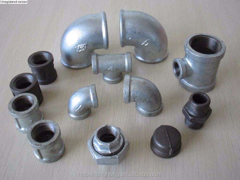 Galvanized equal beaded cross joint malleable cast iron pipe fitting