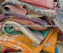 100% cotton authentic old vintage recycled sari quilt/throw/blanket