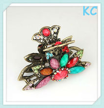 Fashion pink rhinestone alloy hair clamp