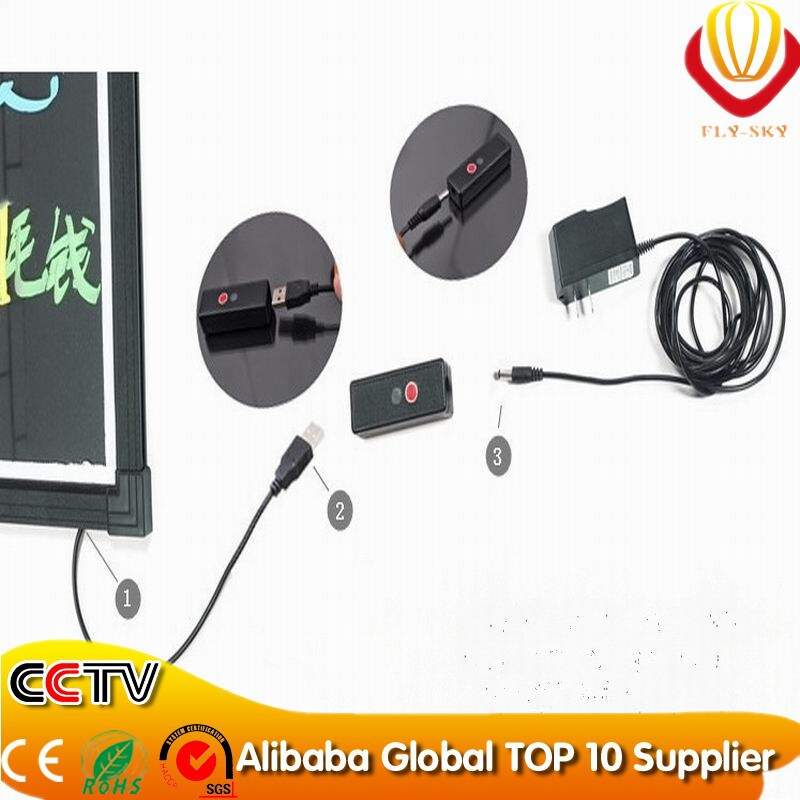 alibaba express glass led writing board for restaurant advertising with remote control and marker pen super bright & catch eyes