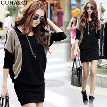 Autumn Winter Casual Dress O-Neck Patchwork Evening Batwing Long Sleeve Party Dresses