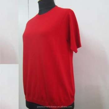 custom low moq good quality women half sleeves cashmere wool sweater
