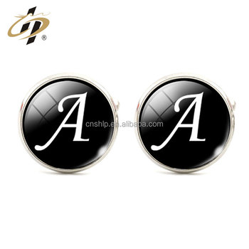 Custom round silver print own logo metal letter cuff links blanks for men