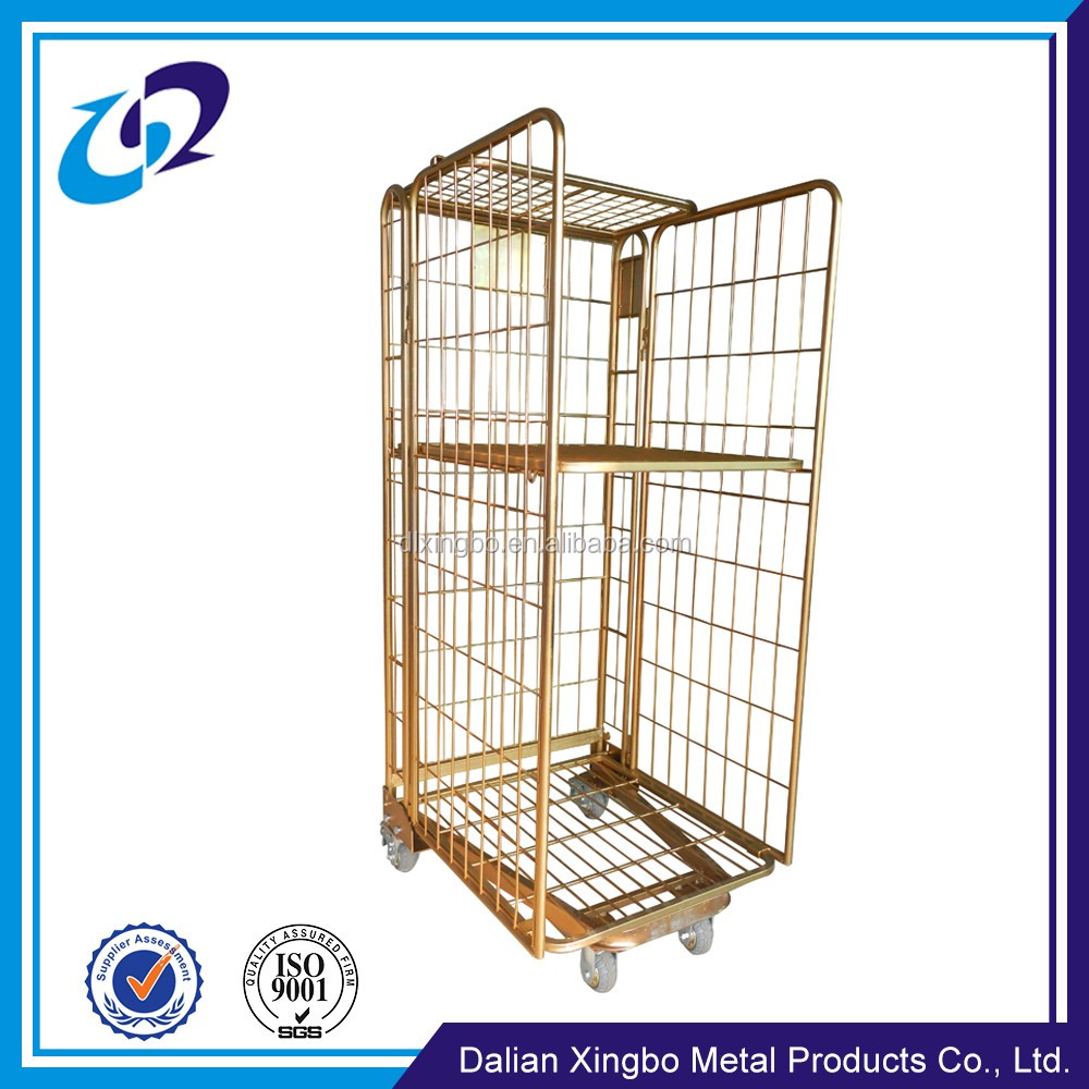warehouse storage galvanized roll container structure four wheels folding cart