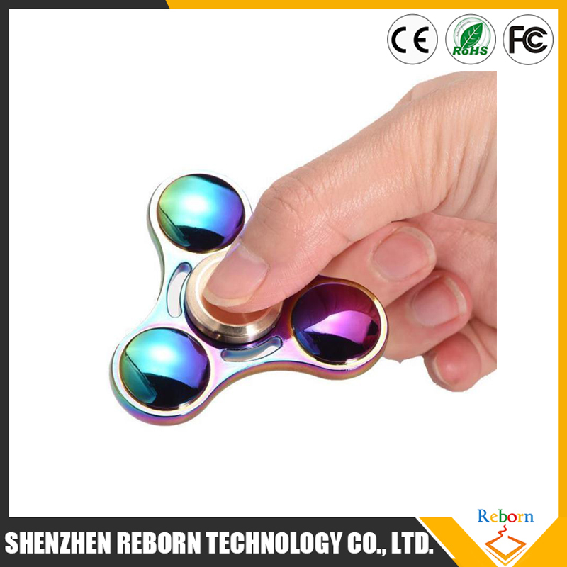 2017 Hot Zinc Alloy Tri spinner Rainbow Colorful Hand Spinner EDC Gyro Toys Spinning Top ADAD Hand Spinners Desk Finger Toy