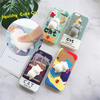 Cute Soft Silicon TPU Cell Phone 3D cat squishy case for iphone 6 7 plus