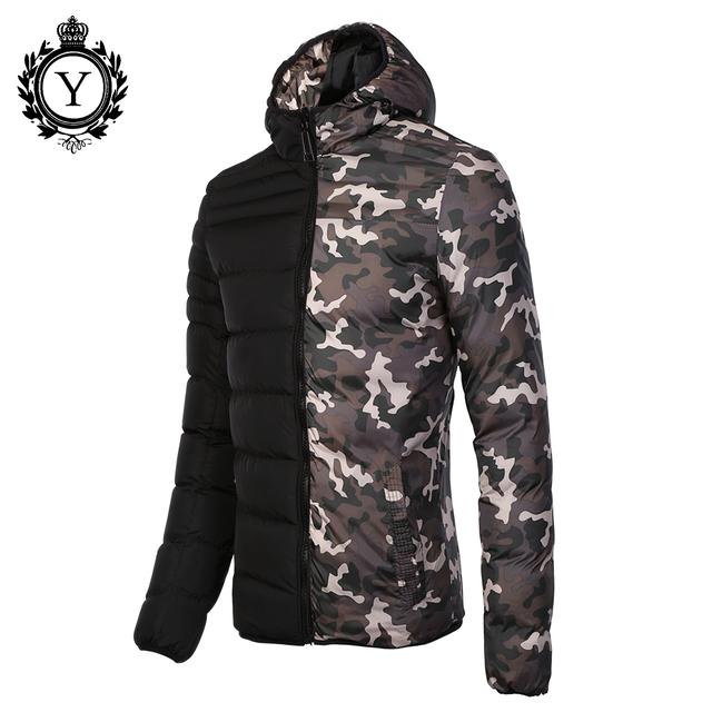 COUTUDI Campera Hombre Invierno 2016 Men Winter Coat Revisible Camouflage Thick Parkas Mens Down Jackets Windbreaker Blue Jacket